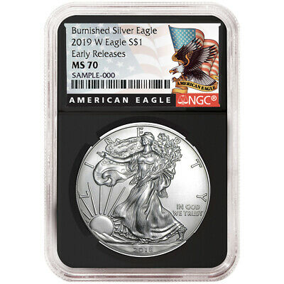 2019-W Burnished $1 American Silver Eagle NGC MS70 Black ER Label Retro Core