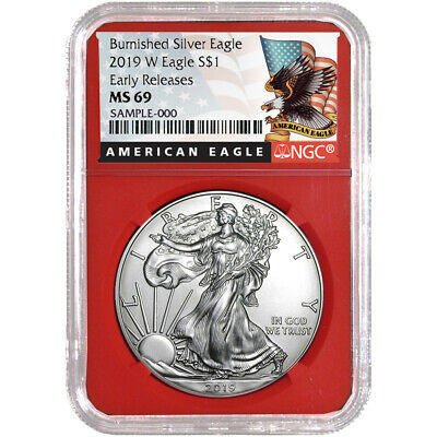 2019-W Burnished $1 American Silver Eagle NGC MS69 Black ER Label Red Core