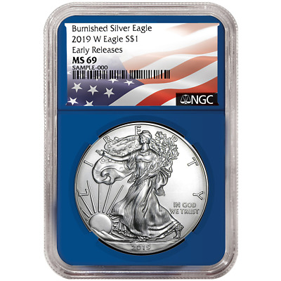 2019-W Burnished $1 American Silver Eagle NGC MS69 Flag ER Label Blue Core