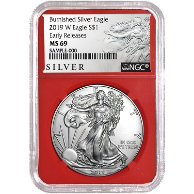 2019-W Burnished $1 American Silver Eagle NGC MS69 ALS ER Label Red Core