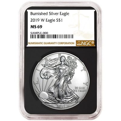 2019-W Burnished $1 American Silver Eagle NGC MS69 Brown Label Retro Core