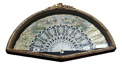 19th Century Antique Professional Framed French Hand Fan - Beautiful!