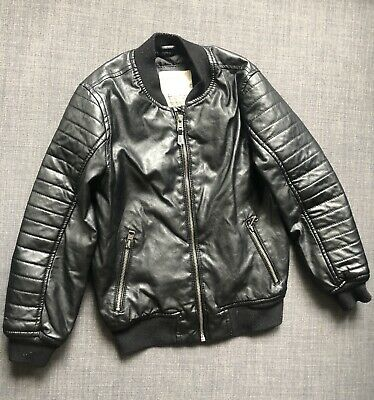 d90808bb ZARA BOYS BLACK Leather Bomber Jacket Kids Size 7 - $25.00 | PicClick