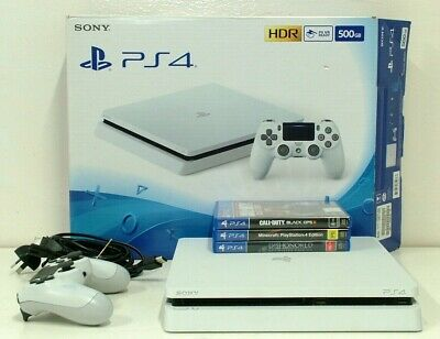 Sony PlayStation 4 PS4 500GB White Console CUH-2102A + Controller + 3 Games
