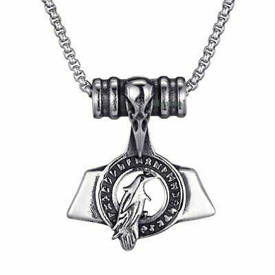 MENDEL Mens Viking Odin Rune Raven Crow Pendant Necklace Stainless Steel Amulet