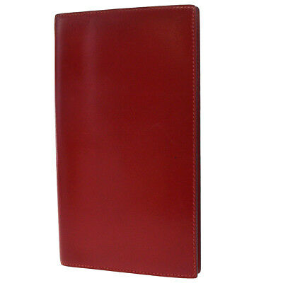Authentic HERMES Logos Agenda Day Planner Leather Red 2002 France 09EM650
