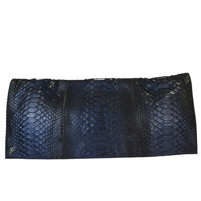 e74dd9469b5778 Authentic GUCCI Logos Clutach Hand Bag Mat Python Leather Blue Italy 66BE617