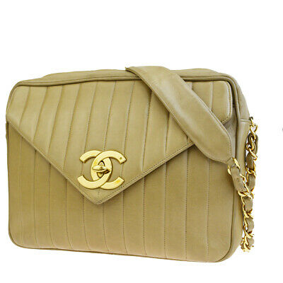 3259b10f6d43 Authentic CHANEL CC Logo Mademoiselle Chain Shoulder Bag Leather Beige  84EQ002