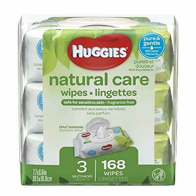 HUGGIES Natural Care Unscented Baby Wipes, Sensitive, Water-Based, 3 Packs, 9 To