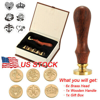 Vintage Sealing Wax Stamp Card Letter Handle + 6 Brass Seal Head Invitation Kit
