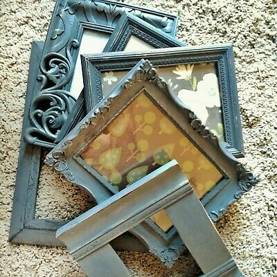 Lot of Picture Frames . Mixed Gray Set 6 Ornate Shabby Chic Frames 4x6 5x7