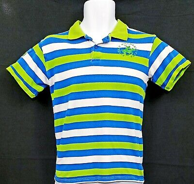 7bd714dbf Beverly Hills Polo Club Boys Large 16 18 Polo Shirt Green Blue White Striped