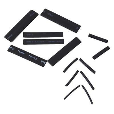 127PCS Black Wrap Wire Polyolefin Heat Shrink Tubing Cable Tube Sleeving Kit W
