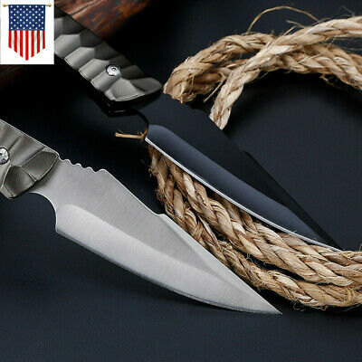 """8"""" Black Fixed Blade Straight Tactical Survival Hunting Pocket Knife with Sheat"""