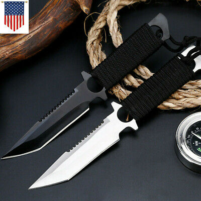 Tactical Equipment Fixed Blade Straight Survival Pocket Hunting Knife & Sheath