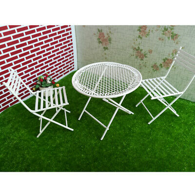 1:12th White Metal Crafted Table with 2 Chairs Dollhouse Miniature Furniture