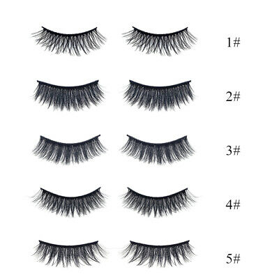7 Paia Ciglia Finte Manuale Naturali Lungo Intenso Make Up False Eyelashes V2X6