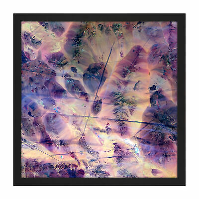 Abstract Gem Stone Purple Square Framed Wall Art 16X16 In