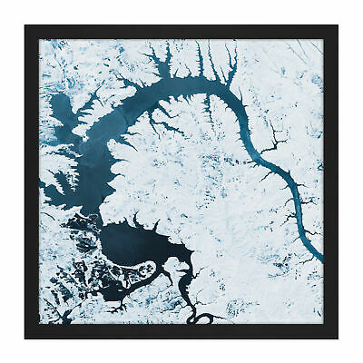 Snow River Abstract Square Framed Wall Art 16X16 In