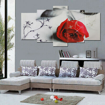 Modern Red Rose Art Canvas Oil Painting Picture Print Home Wall Decor Unframed
