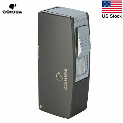 COHIBA 2 Torch Metal Gas Cigar Lighter Butane Jet Refillable Lighter w/ 3 Punch
