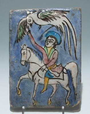 Persian Tile with Handpainted Horse Rider