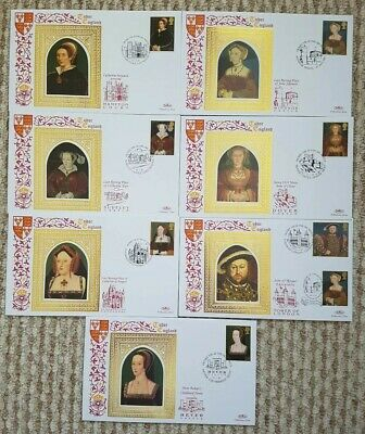 Tudor England Benham Silk 7 Covers FDC. Excellent.
