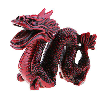 Resin Red Chinese Feng Shui Dragon Figurine Statue for Luck and Success Red