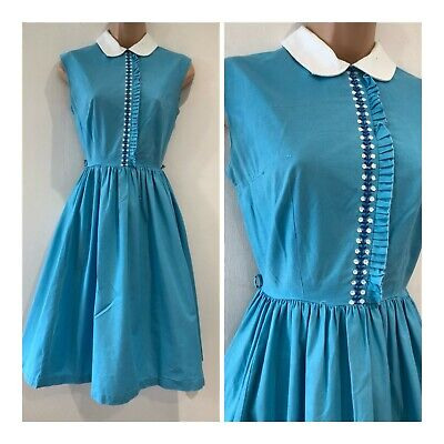 Vintage Late 60s Turquoise Blue White Collar Embroidered Detail Cotton Dress 6-8