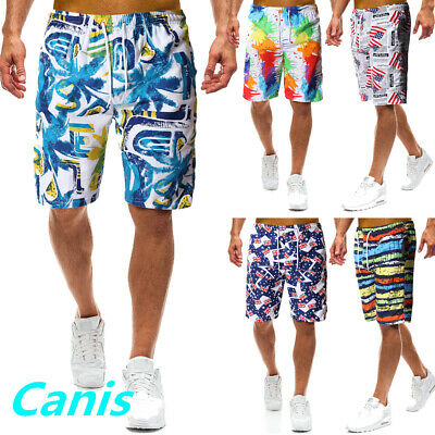 CA Men Swim Trunks Swimwear Quick Dry Beach Shorts Boxer Floral Square Leg Short