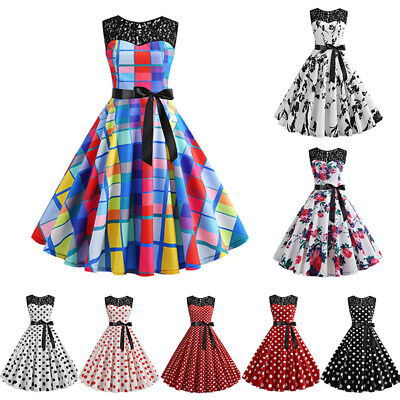 Women 1950S 60S Rockabilly Vintage Sleeveless Swing Pinup Retro Party Lace Dress