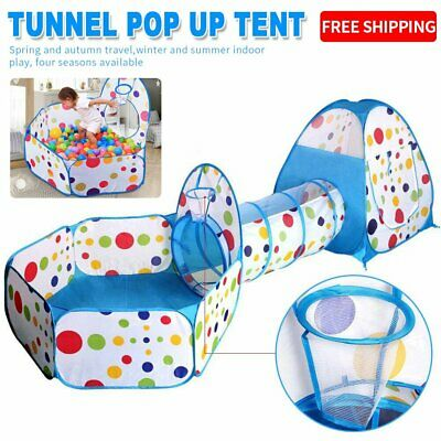Portable 3 in 1 Kids Baby Tunnel Tent Play Ball Pit Playhouse Pop Up Outdoor UK