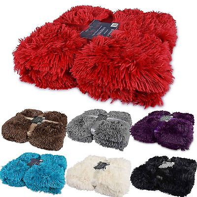 Luxury Long Pile Throw Blanket Super Soft Faux Fur Warm Shaggy Cover 160x200cm