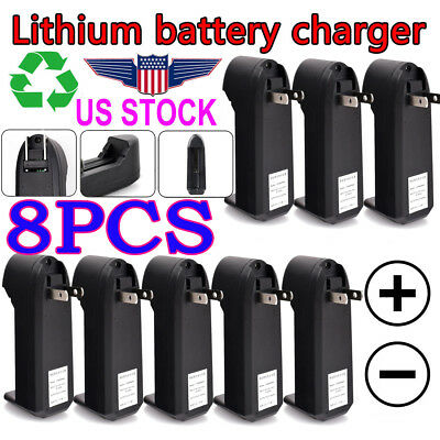 8pcs Smart Battery Charger For 18650 16340 14500 Rechargeable Li-ion Battery USA