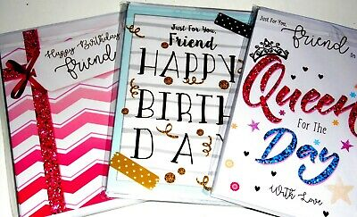 FRIEND CARDS X 18 JUST 36p, SUPERIOR FINISH, INSERTS-FOILED- WRAPPED, ( FINESSE