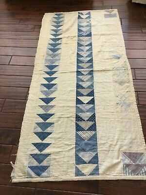 """EARLY ANTIQUE PRIMITIVE BLUE AND WHITE HAND MADE CUTTER QUILT PIECE 33"""" x 71"""""""