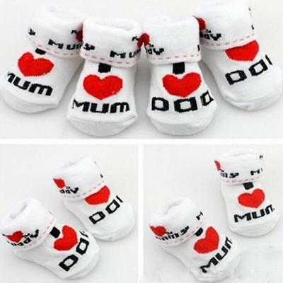 Cotton Baby Boys Girls Socks Infant Cute Newborn 0~6 Months I Love Mum Dad JD