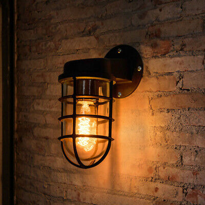 Industrial Rustic Metal Wall Light Farmhouse Vintage Sconce Wire Guard Wall Lamp
