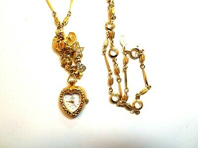 Kirks Folley Watch Pendant With Angels Moon Stars Heart Chain Included Signed