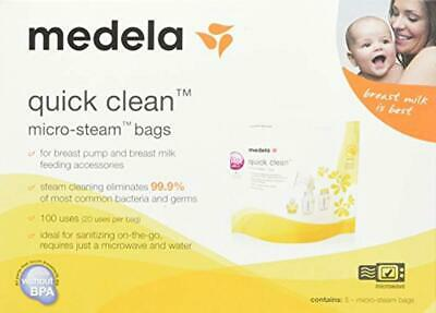 Medela Quick Clean Micro-Steam Bags Economy Pack of 4 retail boxes (20 Bags Tota