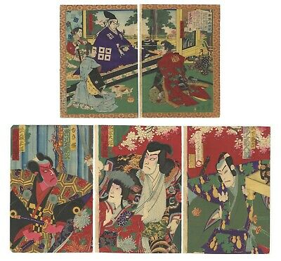 Original Japanese Woodblock Print, Ukiyo-e, Set of 2, Samurai, History, Kabuki