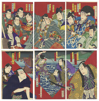 Original Japanese Woodblock Print, Ukiyo-e, Set of 2 Triptychs, Meiji Era, Play