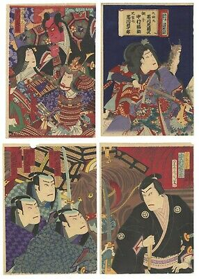 Original Japanese Woodblock Print, Ukiyo-e, Set of 3 Kabuki Prints, Theatre Play