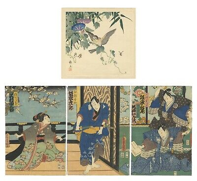 Original Japanese Woodblock Print, Ukiyo-e, Set of 2, Kabuki Theatre, Bird