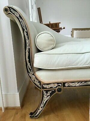 Antique Pair Designer French Empire Chaise Lounges Hand Painted