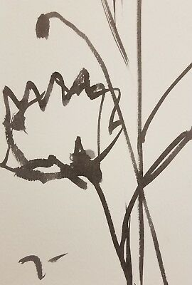 JOSE TRUJILLO ART MODERNISM ABSTRACT EXPRESSIONIST INK WASH Poppies Floral COA