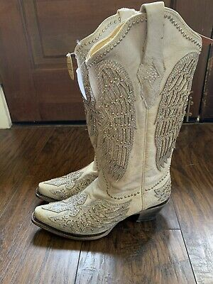 dbce3cfe030 CORRAL WOMEN'S WHITE Winged Cross Glitter & Studded Overlay Boots ...