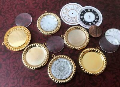 Vintage 36mm Customizable Gold Tone Metal Settings Pendants w Lucite Cabs 4