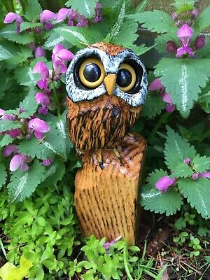 Chainsaw Carved MINI Owl OAK WOOD Carvings Bird Folk Art Collectibles UNIQUE!