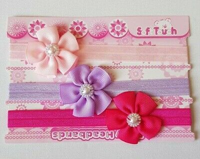 Baby Girl Soft Touch Flower Headbands x 3 Pearl Detail 0-6 m PINK LILAC CERISE